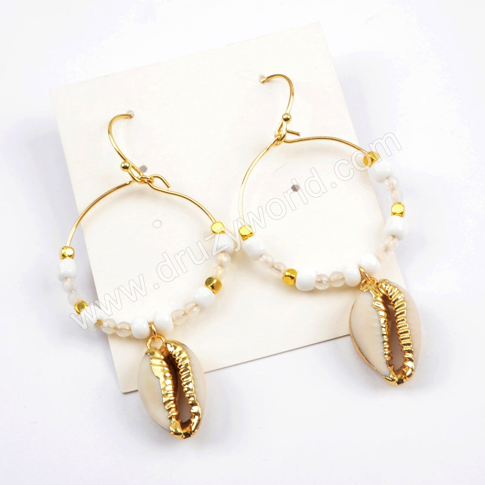 Pure Handmade Boho Chic Narural Cowrie Shell Round Circle Dangle Earrings HD0005