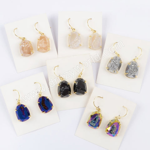 Gold Plated Claw Rainibow Titanium Druzy Faceted Dangle Earrings ZG0371-E