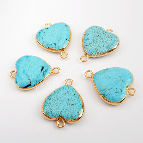 Gold Plated Howlite Turquoise Heart Connector G1538
