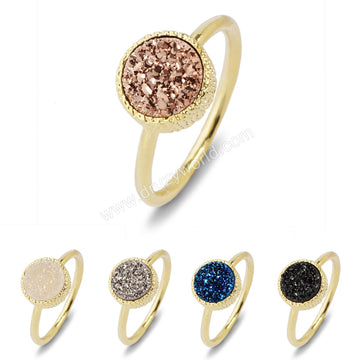 10mm Gold Plated Round Natural  Colorful Agate Titanium Druzy Ring Size #6 ZG059