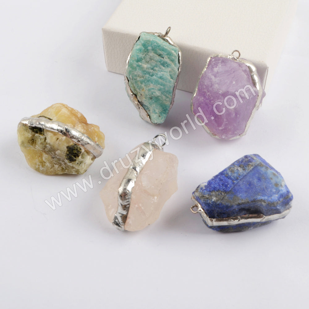 Silver Multi-kind Stones Faceted Charm WX1569