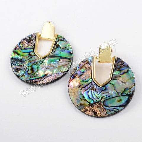 18K Gold Boho Round Gems Abalone Shell Earrings  WX1016