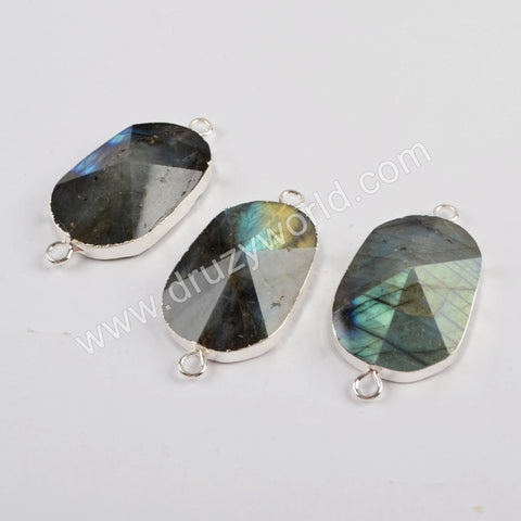 Natural Labradorite Faceted Connector Silver Jewelry Silver Plated S1813