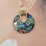 Boho Round Gems Abalone Shell Earrings 18K Gold Plated WX1016