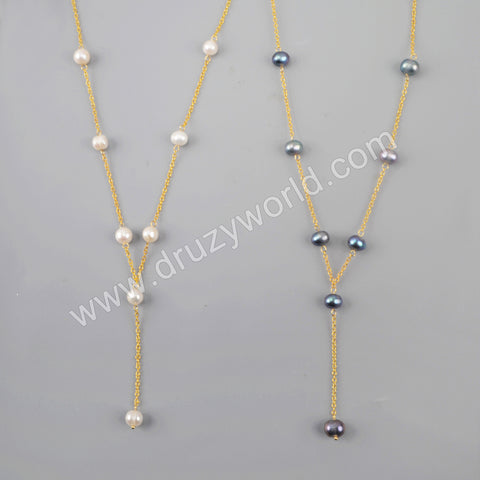 Natural Pearl Necklace Statement Necklace For Women Gold Plated HD0242