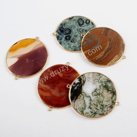 Gold Round Agate Connector WX959