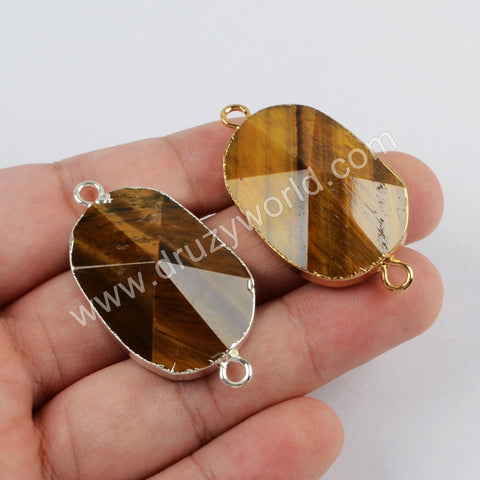 Tiger Eye Faceted Connector Jewelry Making Silver Plated S1814