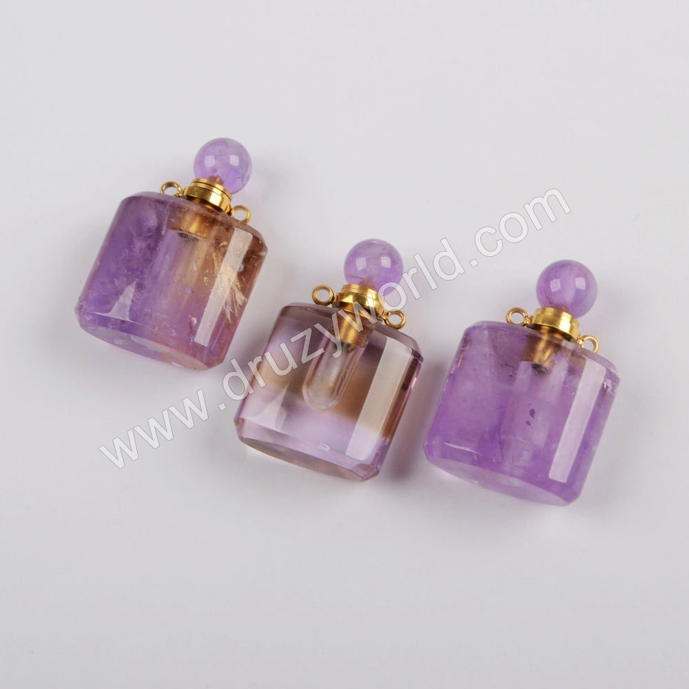 Natural Amethyst Perfume Bottle Gold Plated Connector WX1168
