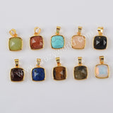 Natural Multi-kind Stones Gemstone Pendant Charm Gold Plated WX1292