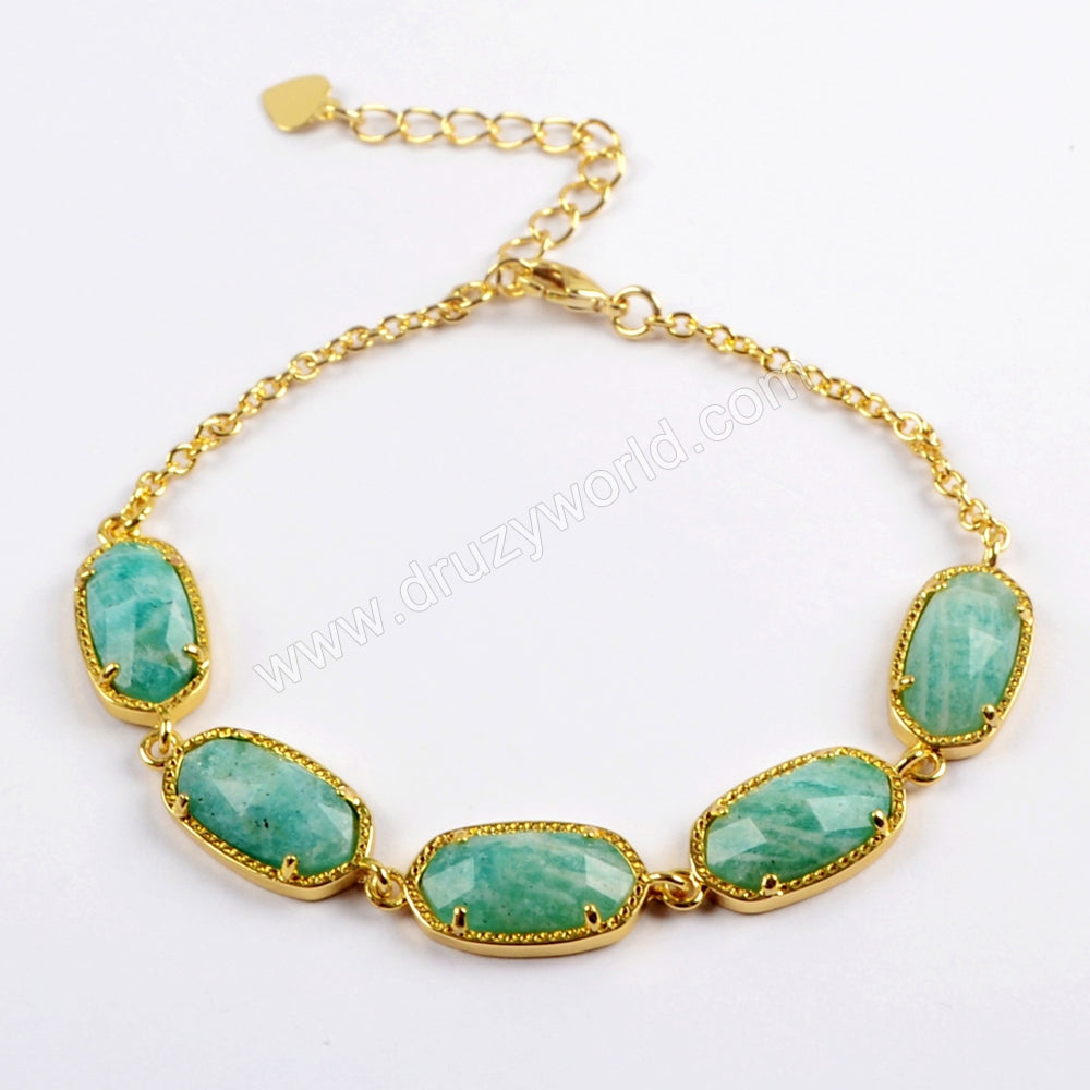 5 Faceted Genuine Stone Gemstones Chain Bracelets ZG0326