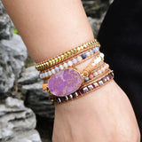 5 Times Women Boho Leather Bracelets High End Natural Stones Holiday Jewelry HD0041