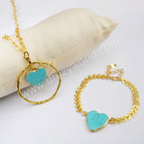 Blue Howlite Adjustable Necklace Bracelet Set For WomenGold Plated HD0243