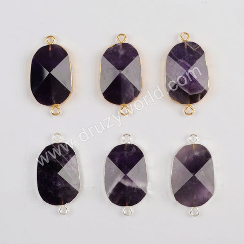 Gold Plated Natural Amethyst Facted Connector G1815/S1815