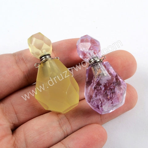 Silver Perfume Bottle Shape Facted Gem Stone Bead Connector WX1018
