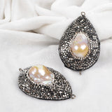 Rhinestone Pave Natural Pearl Drop Snake Skin Connector JAB565