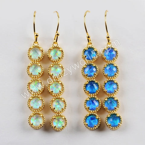 Gold Plated Bezel Round Five Opal Faceted Bar Earrings ZG0339