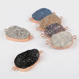 Rose Gold Plated Rainbow Titanium Druzy Connector R1312