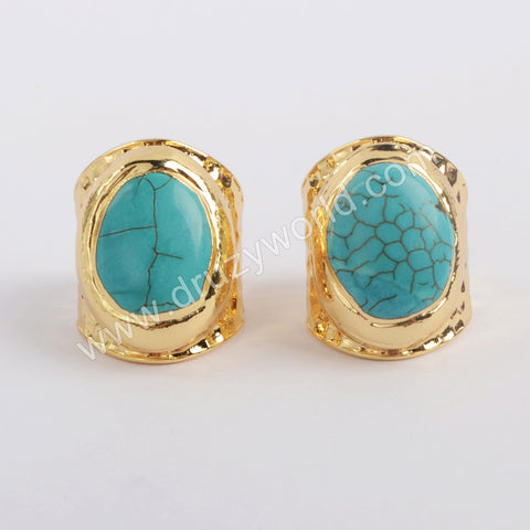 Gold Plated Bohemian Howlite Turquoise Stone Ring Gift For Her Fashion Jewelry G1882