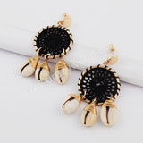 Gold Net Wave Cowrie shell Earrings WX1077