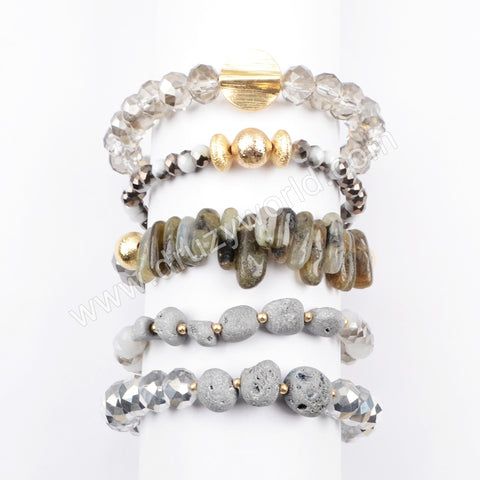 Druzy Crystal Glass Beads Bracelet Set Summer Jewelry WX1063