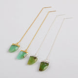 Australia Jade Faceted Threader Earrings Silver Plated S1347