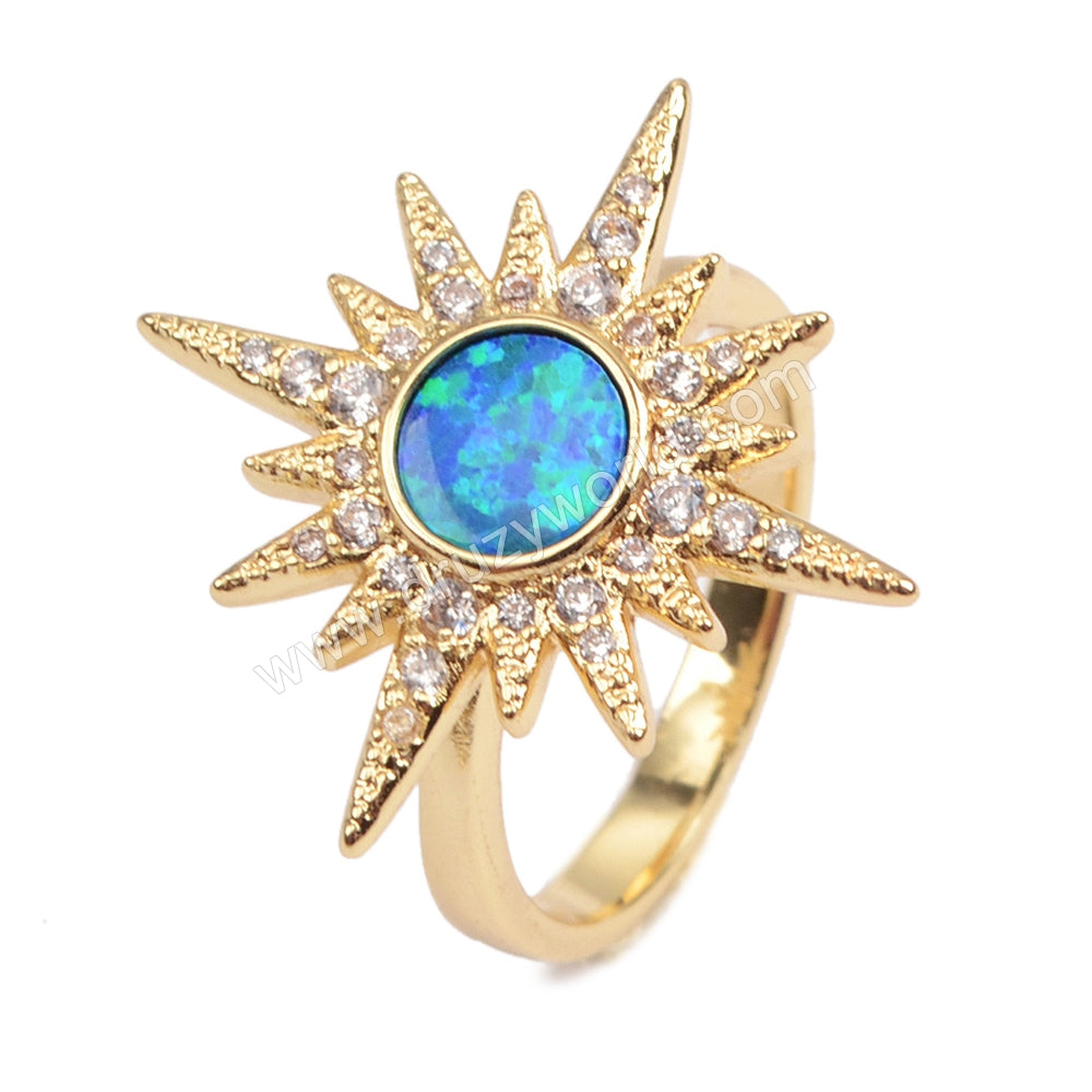 Gold Plated Bezel Star Blue Opal Pave CZ Ring ZG0219