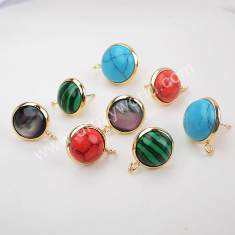 Natural Multi-kind Stones Stud Earrings Fashion Jewelry Gold Plated WX1387