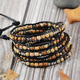 Hand Made Gypspy Bohemian Leather Gemstone Beaded Wrap Bracelet HD0101