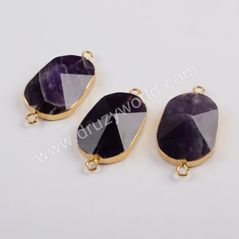 Natural Amethyst Faceted Connector Fashion Jewelry Silver Plated S1815