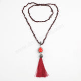 Rhinestone Pave Natural Red Coral Drop Garnet Tassel Necklace JAB566