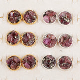 Gold Plated Round Natural Garnet & Pyrite Chips Studs G1248/S1248
