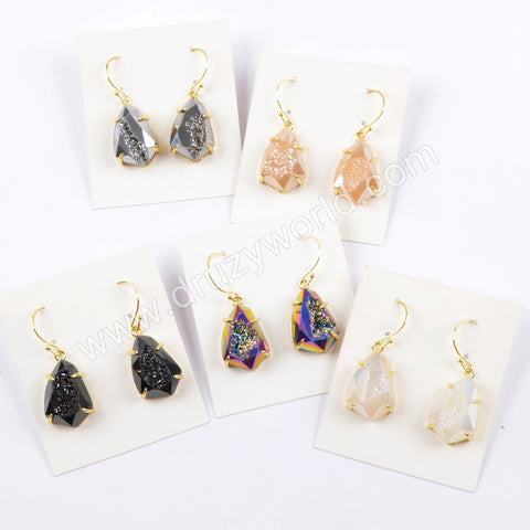 Teardrop Gold Plated Claw Titanium Rainbow Druzy Faceted Earrings ZG0356