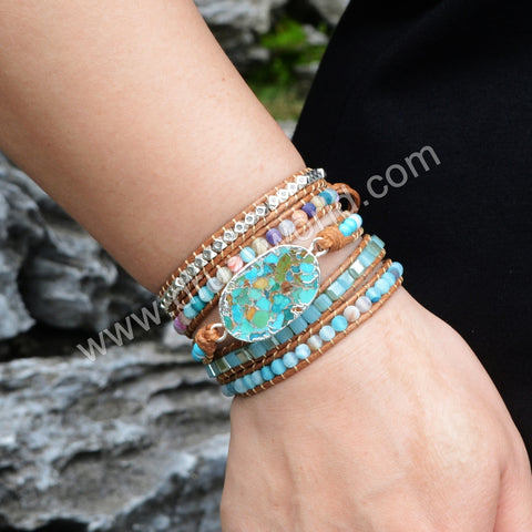 5 Times Boho Leather Wrap Womens Mens Handmade Natural Stones Stacking Bracelets HD0034