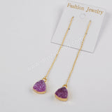 10mm Triangle Gold Plated Rainbow Agate Druzy Threader Earrings G1385