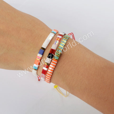 Wholesale Fashion Aautumn Jewelry Tila Rainbow Beaded Adjustable Bracelet Gift For Her HD0116