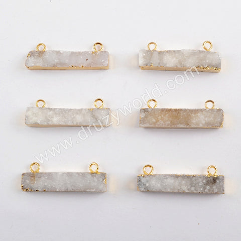 Gold Plated Rough Natural Color Druzy Bar Connector G1579