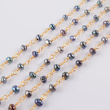 Natural Pearl Rosary Chains In Gold Plated Jewelry Necklace JT272