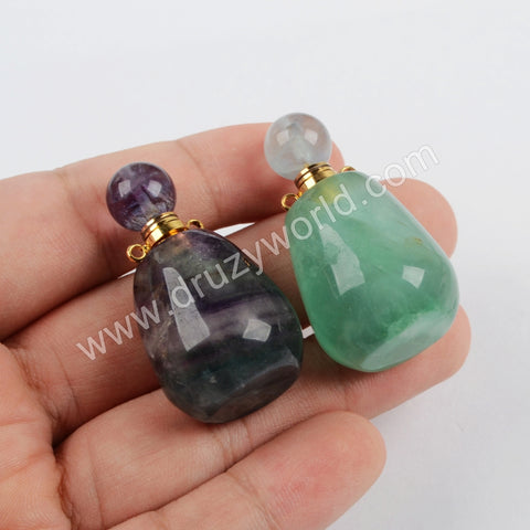 Gold/Silver Plated Fluorite Perfume Bottle Connector (Really Can Hold Perfume)  WX1179