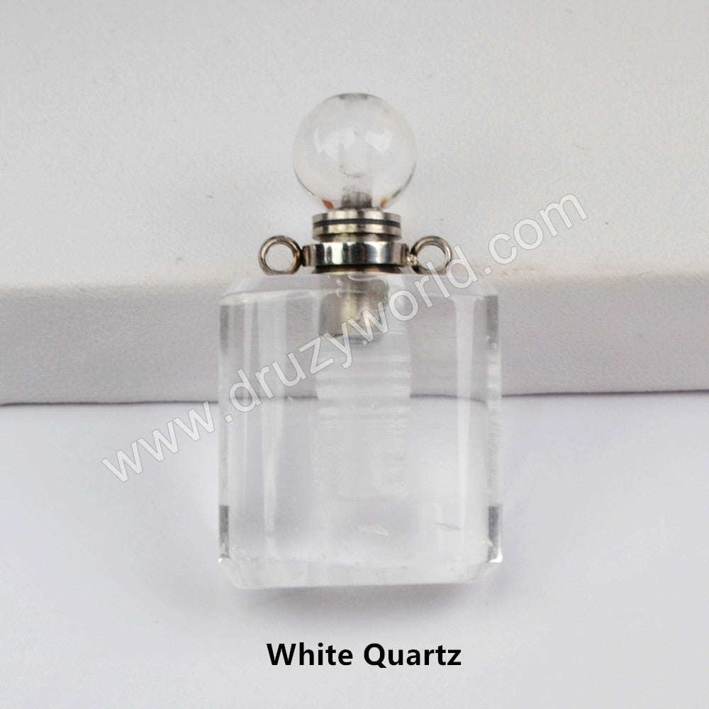 Silver Natural Stone Perfume Bottle Connector WX1189