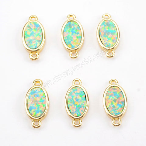 Oval Gold Plated Blue Opal Bezel Connector Double Bails ZG0265
