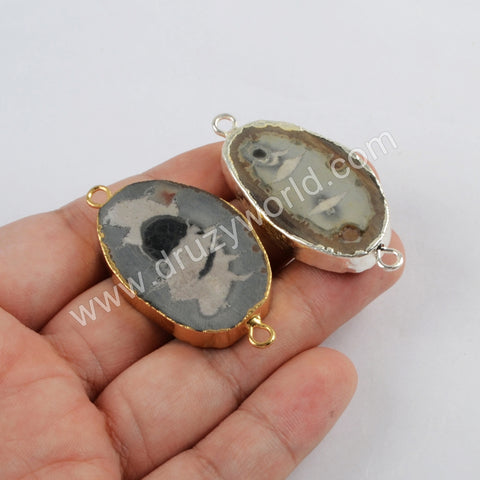 Fossil Stone Connector Fashion Jewelry For Women Silver Plated S1818