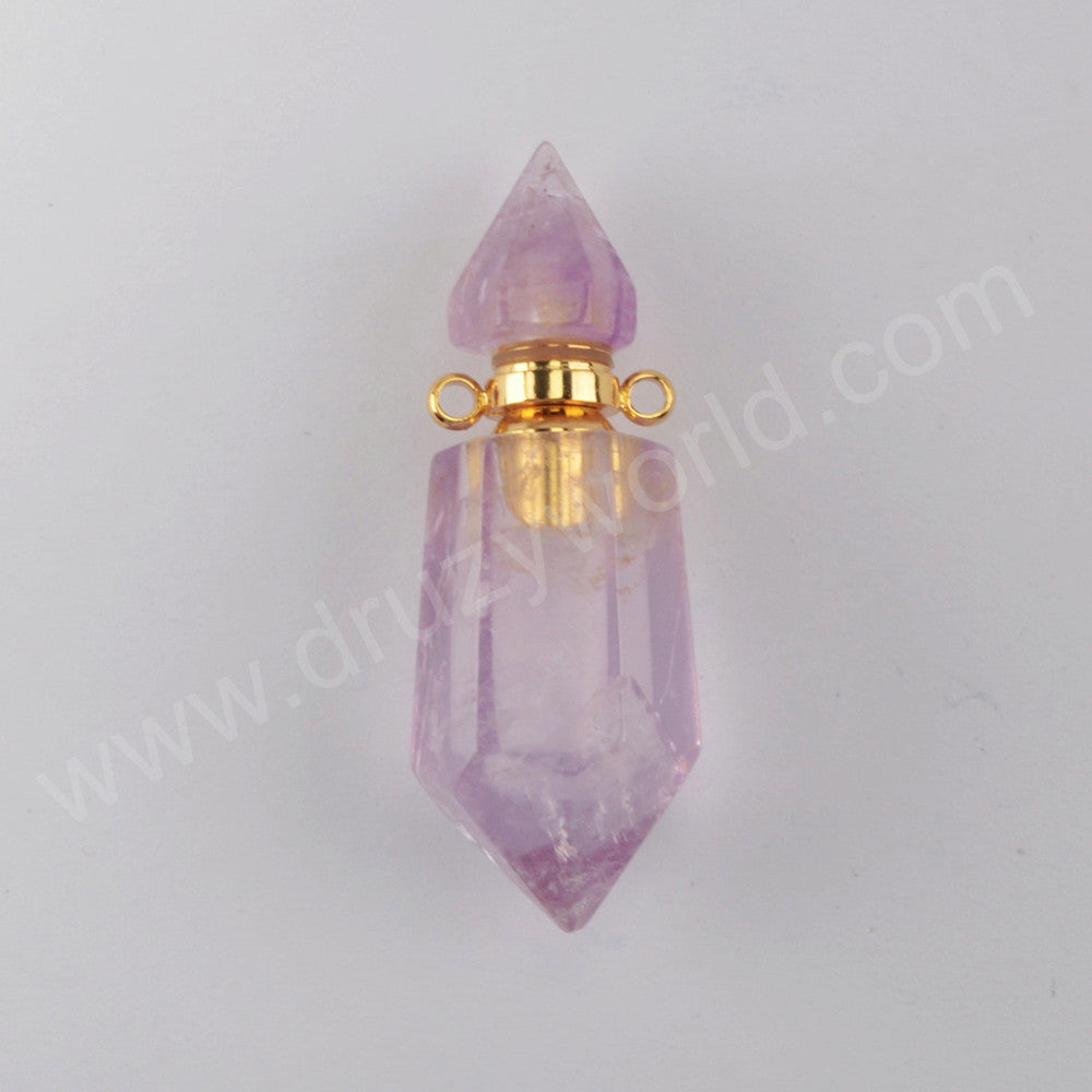 Fluorite Quartz Perfume Bottle Connector Gold Plated Jewelry G1942
