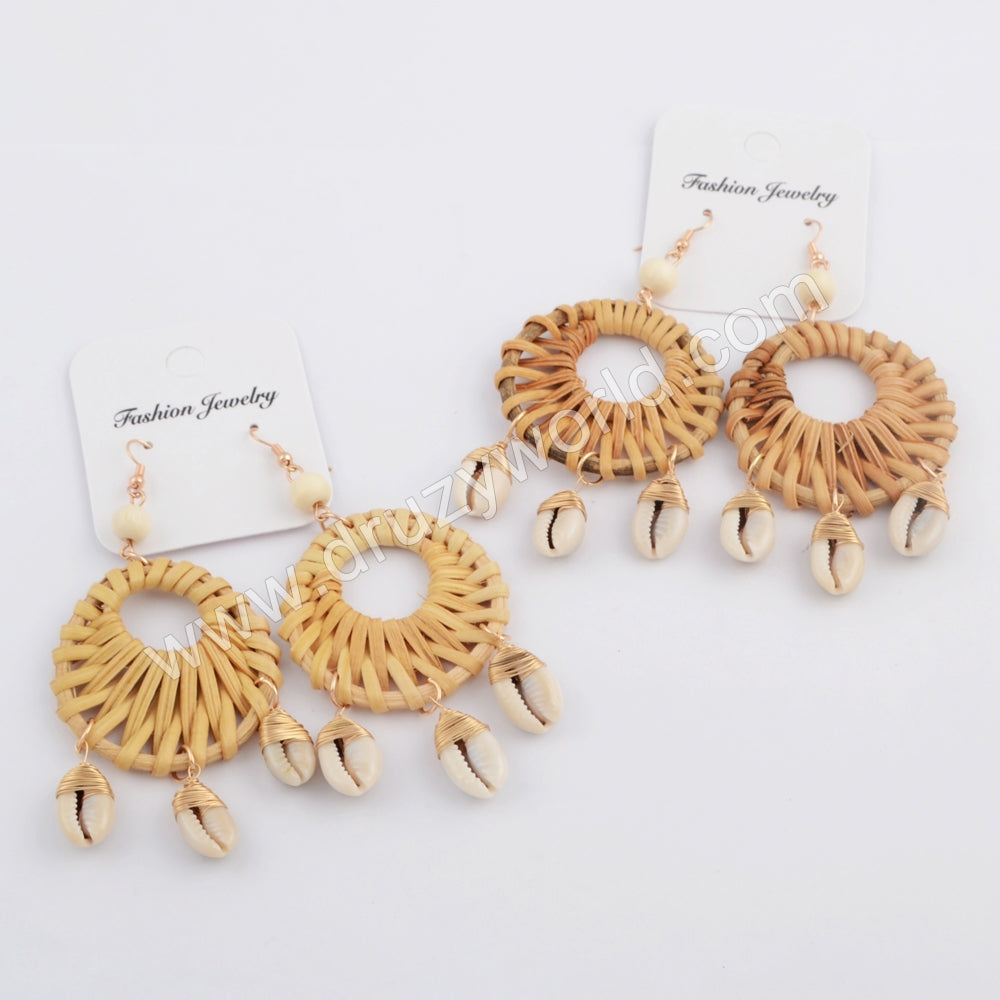 Gold Round Bamboo Wave Cowrie Shell Earring WX1078