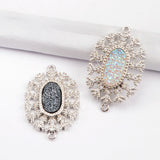 CZ Micro Pave Crystal Man-made Druzy Silver Connector WX885