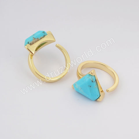 Triangle Gold Plated Natural Turquoise Faceted Open Ring ZG0402