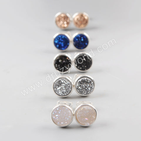 9mm Round Silver Plated Titanium Rainbow Druzy Stud Earrings ZS0198
