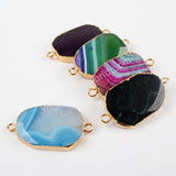 Gold Plated Polished Rainbow Onyx Fire Agate Slice Connector G1400