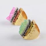 Gold Plated Rhinestone Pave Druzy Band Ring JAB964