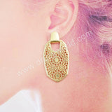 Gold/Silver Engraved Metal Earrings WX1057