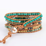 Boho Gold Plated Amazonite  Beads Bracelet Vintage Leather Wrap Bracelet HD0067